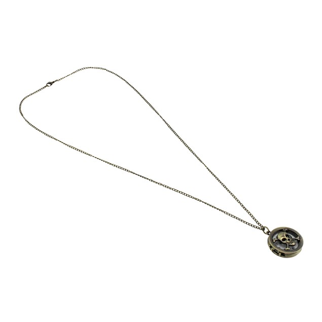 Antiqued Brass Skull And Crossbones Watch Necklace Mens Pendant Necklaces