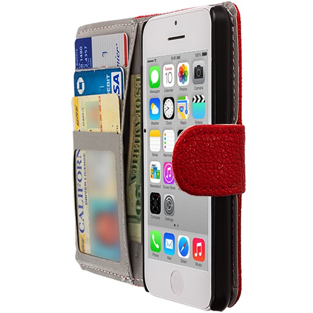 Apple iPhone 5C Wallet Pouch Case Cover with Slots