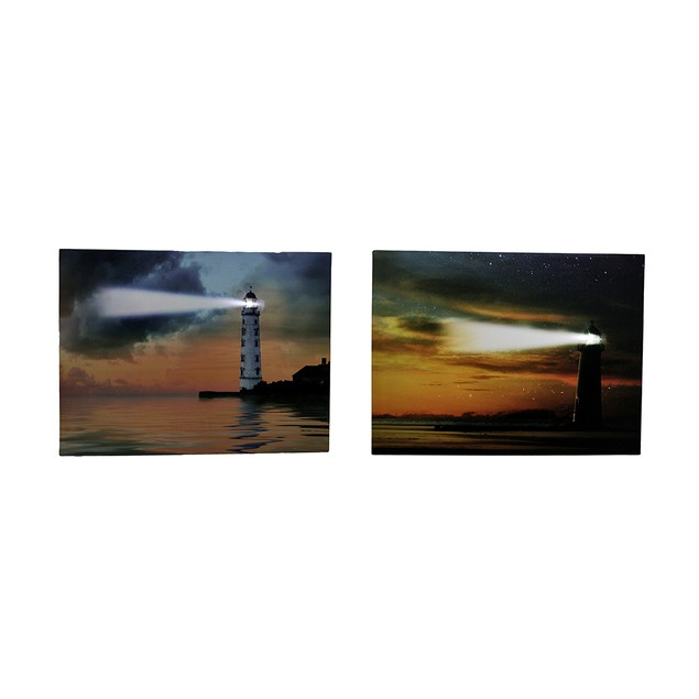 Pair Of Lighthouses At Sunset Led Lighted Canvas Prints