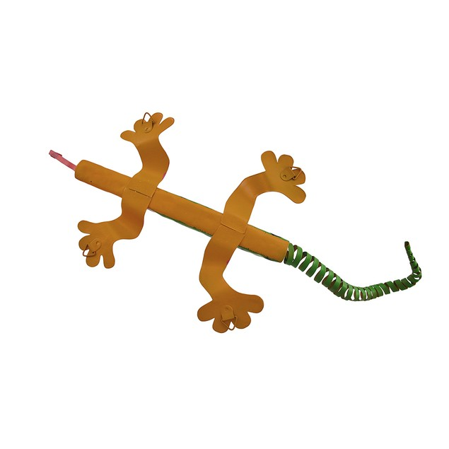 Green And Orange Striped Metal Lizard Wall Hanging Wall Sculptures