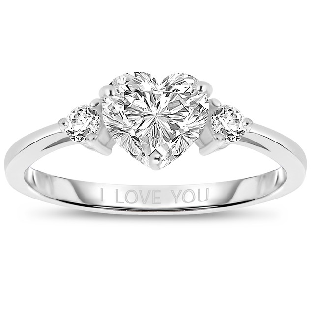 Sterling Silver Cubic Zirconia Heart 'I Love You' Ring