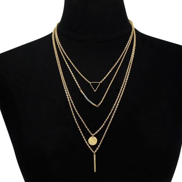 Gold Plated Quadruple Layer Pendant Necklace
