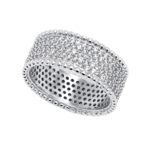 White Gold Plated Wide CZ Band Ring