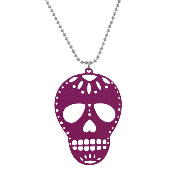 Purple Enamel Sugar Skull Necklace Dod Womens Pendant Necklaces
