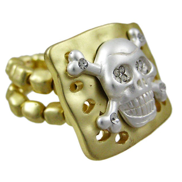 Rhinestone Skull & Crossbones Goldtone Stretch Womens Rings