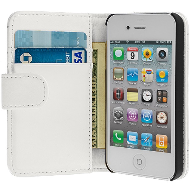 Apple iPhone 4 Wallet Pouch Case Cover with Slots