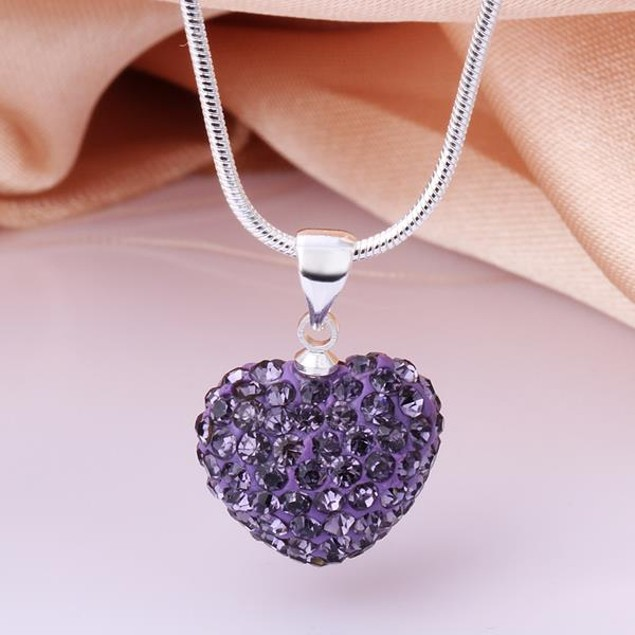 Solid Austrian Stone Heart Shaped Necklace - Royal Lavender