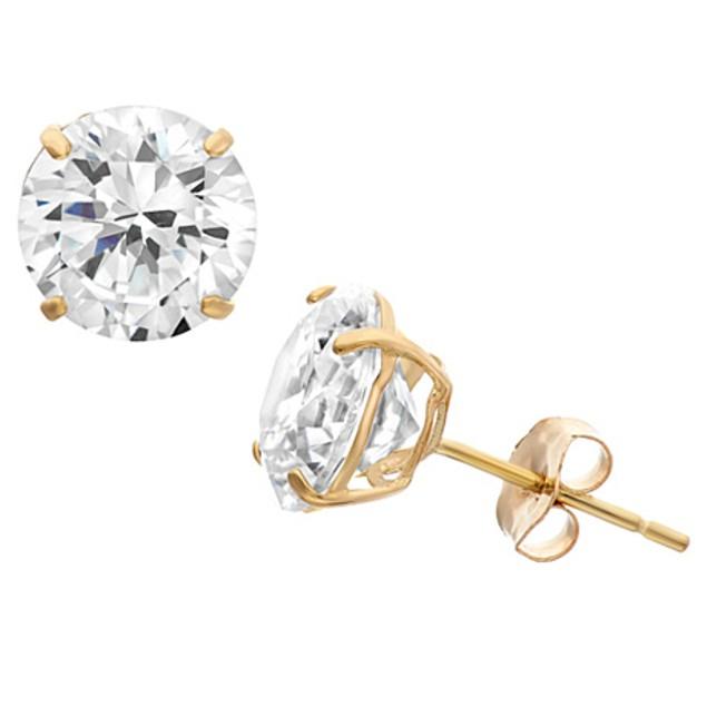14-Karat Yellow Plumb Gold Round CZ Stud Earrings