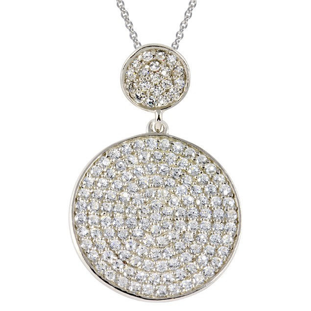 Sterling Silver Simulated Diamond Round Pave Necklace
