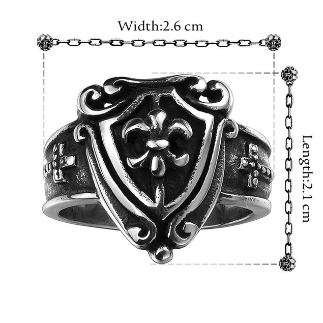Medium Shield Emblem Stainless Steel Ring