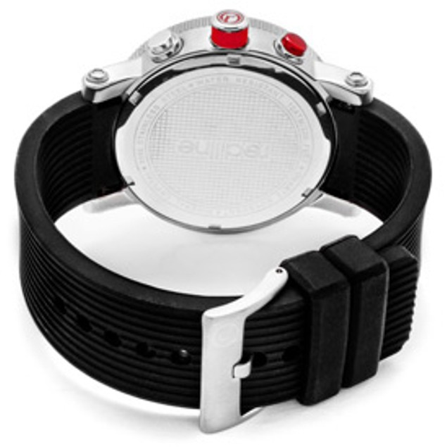 Red Line Men's Compressor Silver Dial Black Silicone
