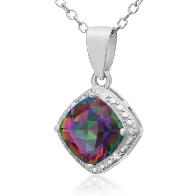 1 1/2ct Mystic Topaz and Diamond Pendant
