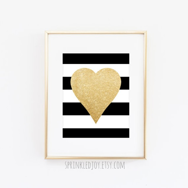 Gold Heart Print