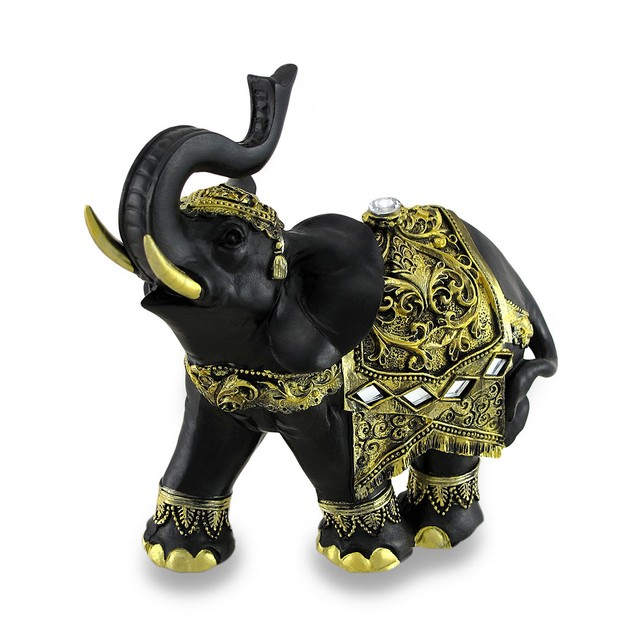 Exotic Black And Gold Finish Trunk Up Thai Statues