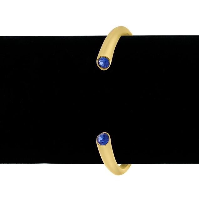 Gold Tone & Blue Crystal Cuff Bracelet