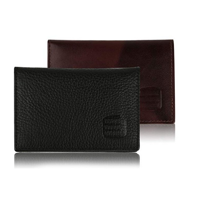 Suvelle Men's Thin RFID Slim Leather Card Holder With ID Wallet Case