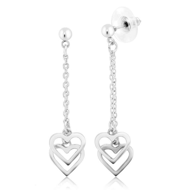 Gold Drop Chandlier Heart Earrings - 3 Colors