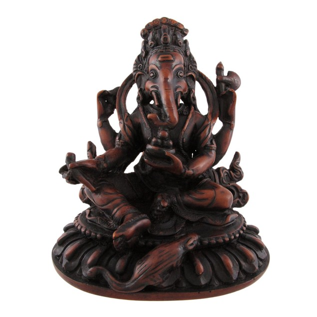 Wooden Look Sitting Ganesha Hindu God Statue Statues
