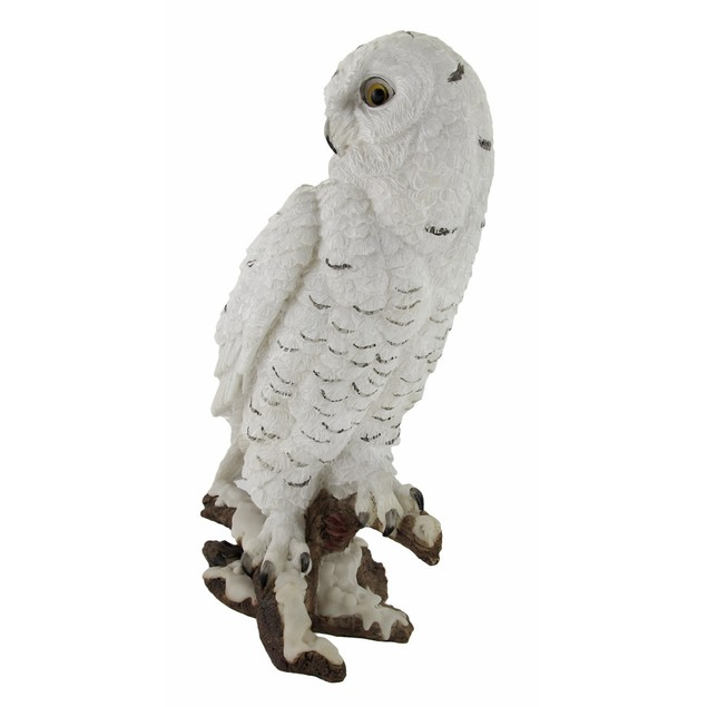 Beautiful Snowy Owl On A Branch Statue Statues