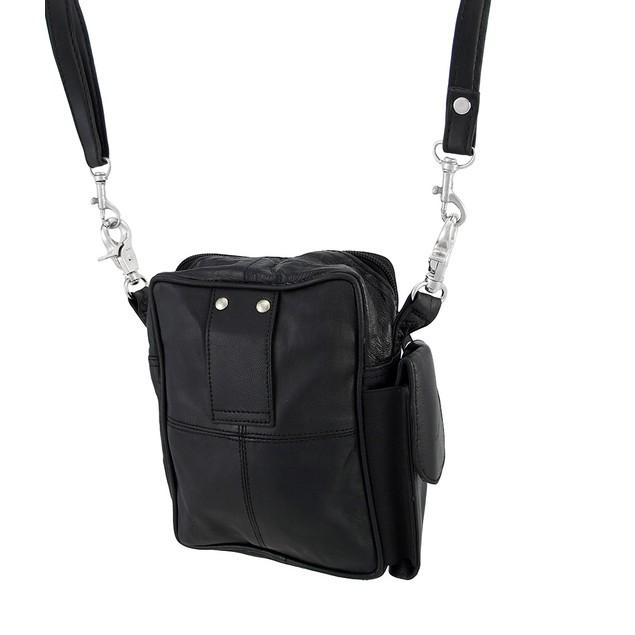 Black Leather Casual Evening Bag / Belt Loop Bag Womens Cross Body Bags