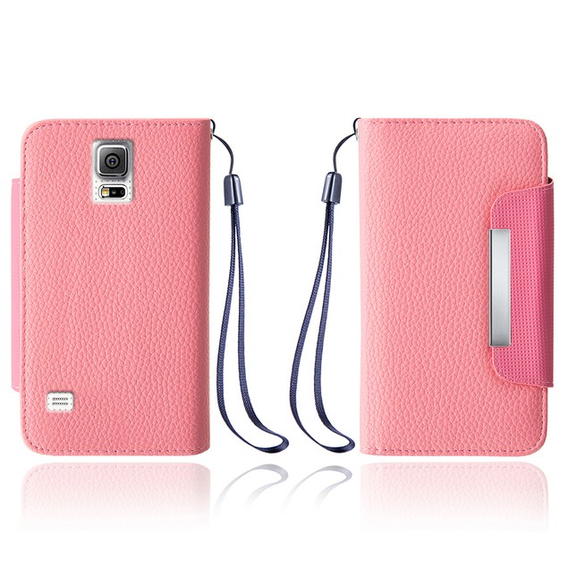 Leather Wallet Case With Clip for Samsung Galaxy S5