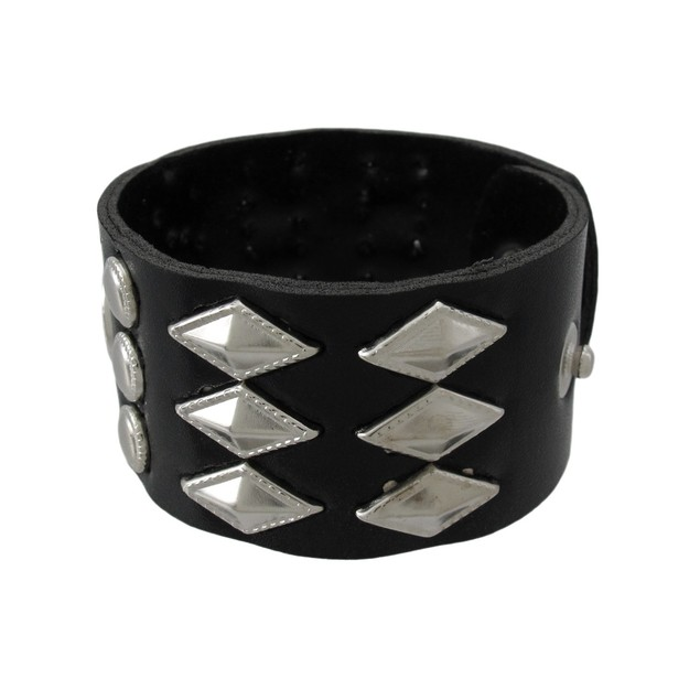 Black Vinyl Wristband With Round And Diamond Mens Cuff Bracelets