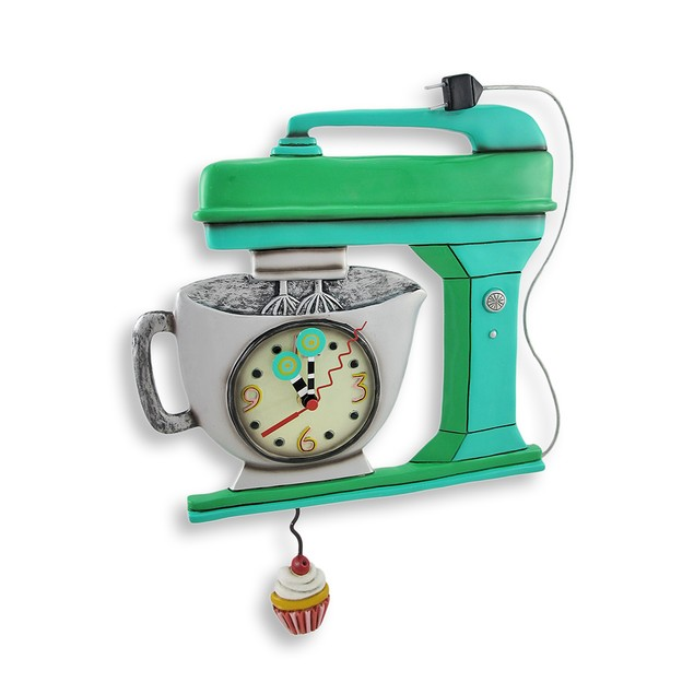 Allen Designs Green Vintage Kitchen Mixer Wall Wall Clocks