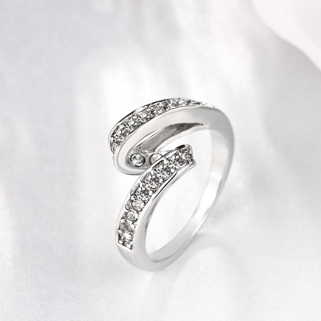 White Gold Plated Swirl Ring