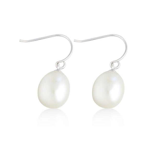 Sterling Silver Classic Freshwater Pearl Drop Earrings