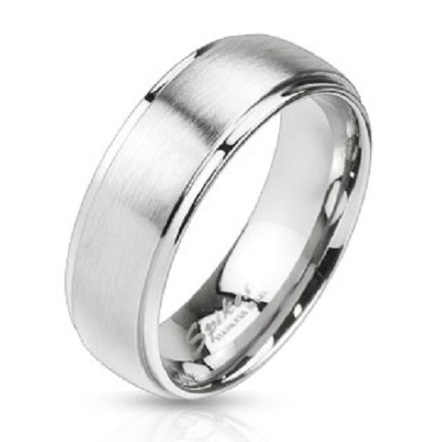 Mirror Polished Edges and Brushed Metal Center Dome Two Tone Band Ring Stainless Steel