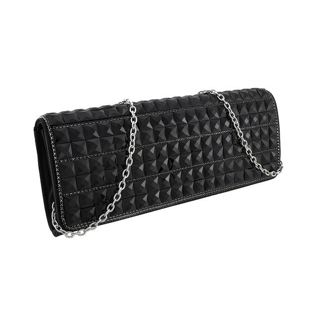 Glossy Black Faceted Pyramid Stud Satin Clutch Womens Evening Handbags