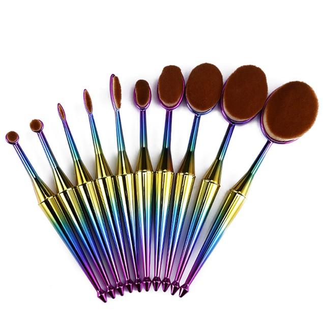10 Piece Mermaid Oval Brush Set