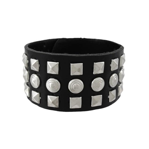 Black Vinyl Wristband With Pyramid/Chrome Studs Mens Cuff Bracelets