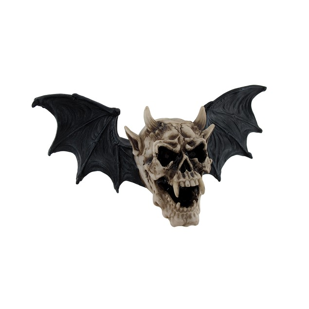 Gothic Bat Winged Demon Skull Wall Hanging Wall Sculptures