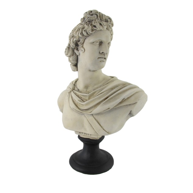Greek / Roman God Apollo Museum White Resin Bust Statues