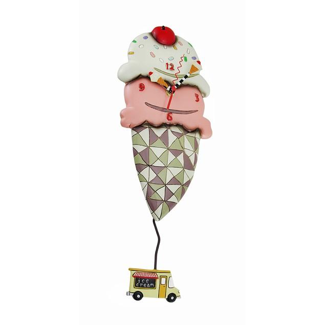 Whimsical Scoops Ice Cream Cone Pendulum Wall Wall Clocks