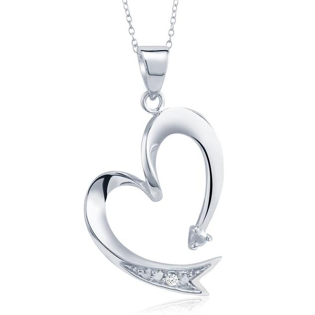 .20 Ct Diamond Arrow Heart Necklace