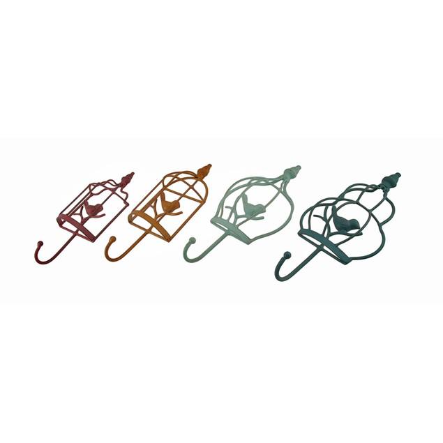 Colorful Set Of 4 Birdcage Shaped Decorative Metal Key Hooks