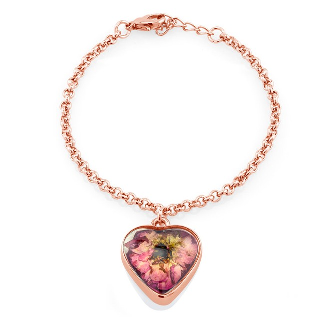 Real Dried Rose Heart/Circle Charm Bracelet
