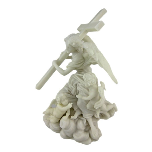 Angel Carrying Cross Marble Look Statue Statues