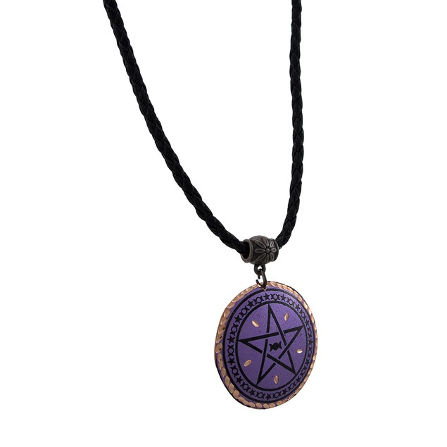 Purple Pentacle Pendant With Copper Accents On Womens Pendant Necklaces