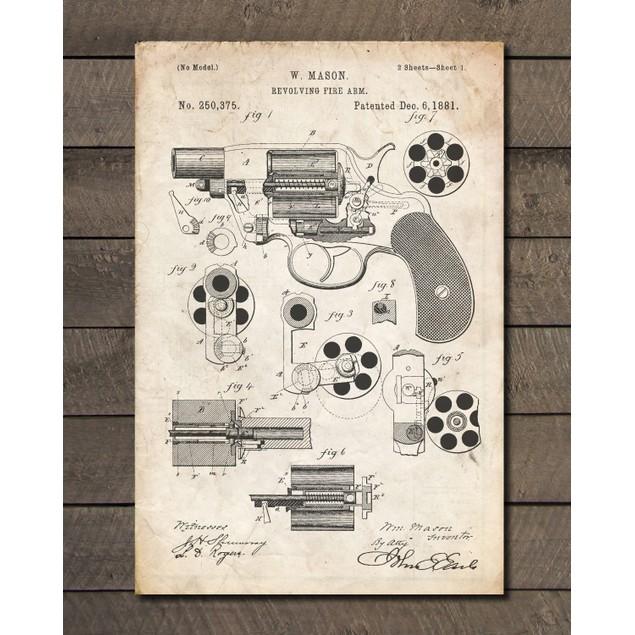 Colt M1889 Revolver Gun Patent Print - 3 Colors