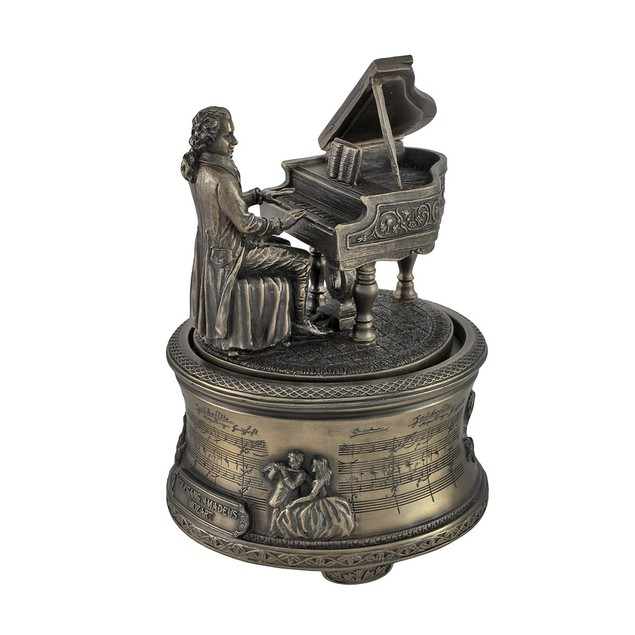 Bronzed Mozart Playing Piano Spinning Music Box Decorative Music Boxes