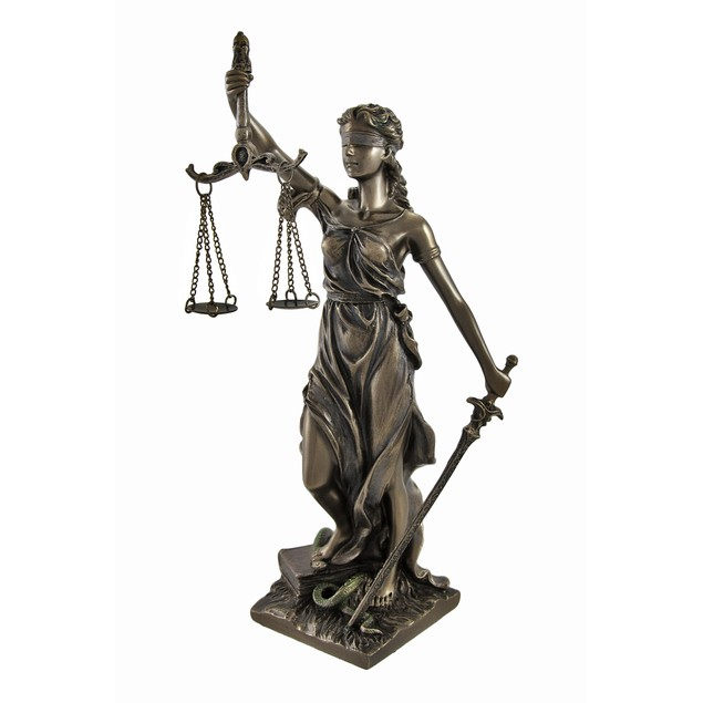 Bronzed La Justicia With Scales And Sword Statue 8 Statues