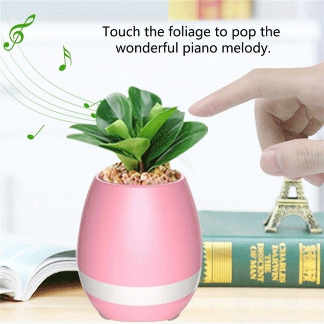Mini Smart Flower Pot w/ Bluetooth Speaker & Piano Sound - Watch the Video