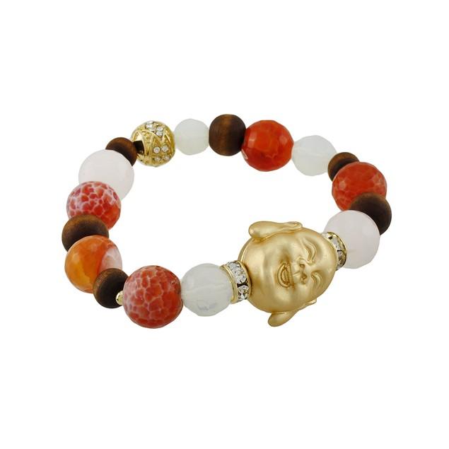 Agate Beaded Stretch Bracelet With Golden Buddha Womens Stretch Bracelets