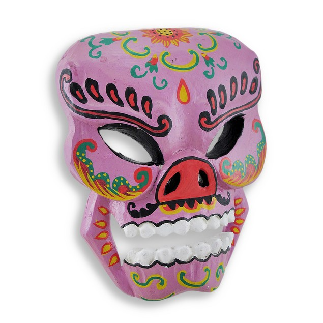 Purple Hand Crafted Day Of The Dead Sugar Skull Decorative Masks