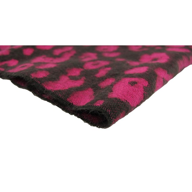 Black / Hot Pink Leopard Print 100% Cashmere Womens Cold Weather Scarves