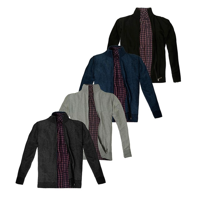 Men's Casual Full Zip Thick Knitted Cardigan Sweaters