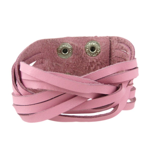 Pink Leather Braided Wristband Bracelet Womens Leather Bracelets